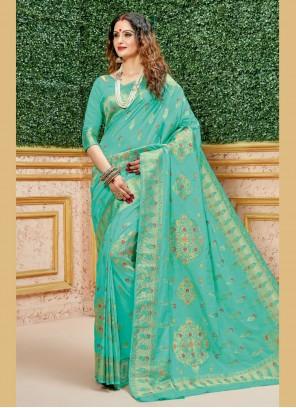 Weaving Sea Green Classic Saree