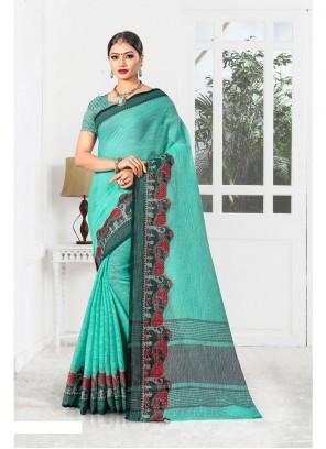 Weaving Sea Green Designer Saree