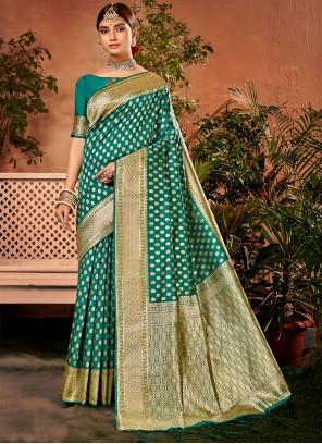 Weaving Sea Green Traditional Saree