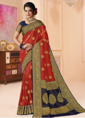 Weaving Red Shimmer Classic Saree