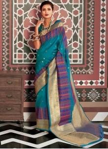 Weaving Silk Aqua Blue Classic Saree