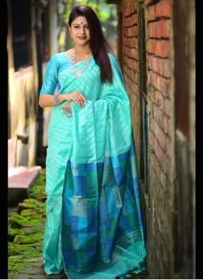 Weaving Silk Aqua Blue Designer Traditional Saree