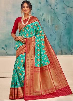 Weaving Silk Aqua Blue Traditional Saree