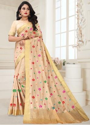 Weaving Silk Beige Designer Traditional Saree