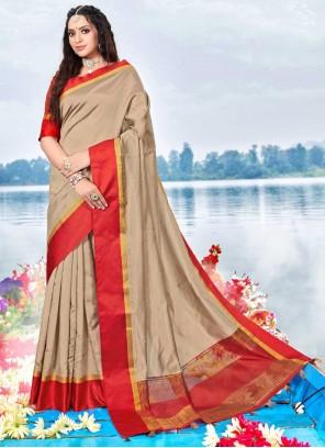 Weaving Silk Beige Traditional Saree