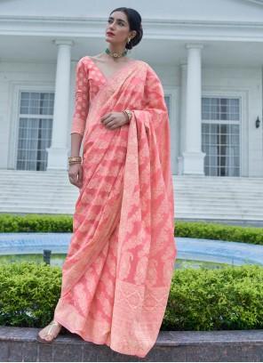 Weaving Silk Bollywood Saree in Pink