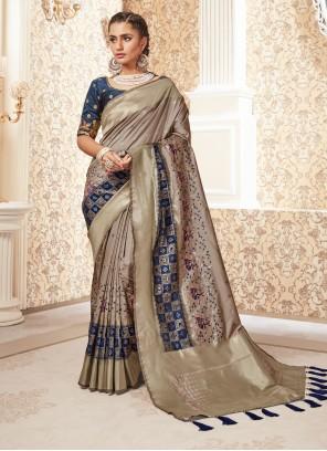 Weaving Silk Classic Designer Saree in Beige