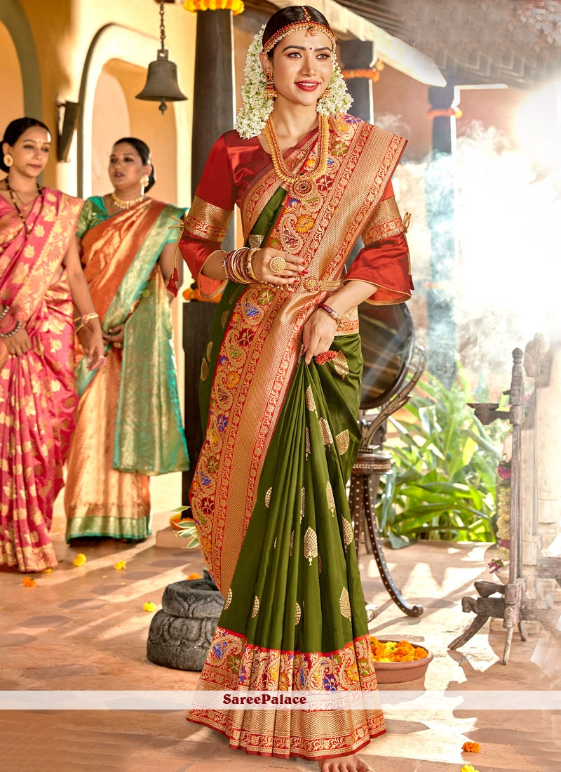Weaving Silk Classic Designer Saree in Green