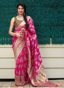 Weaving Silk Classic Designer Saree in Pink