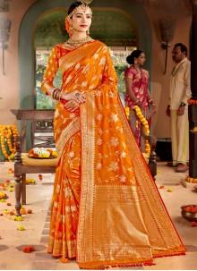 Weaving Silk Classic Designer Saree in Yellow