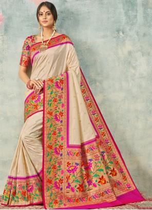 Weaving Silk Classic Saree in Cream