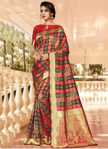 Weaving Silk Classic Saree in Red