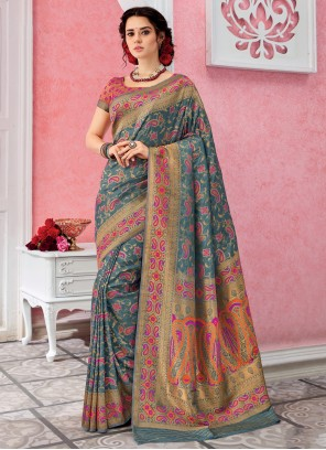 Weaving Silk Contemporary Saree in Grey