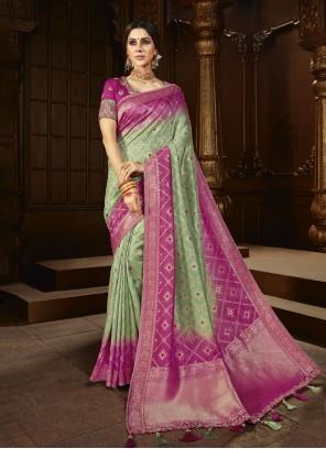 Weaving Green Silk Wedding Designer Saree