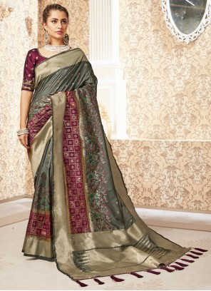 Weaving Silk Designer Saree in Sea Green