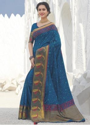 Weaving Silk Designer Blue Traditional Saree