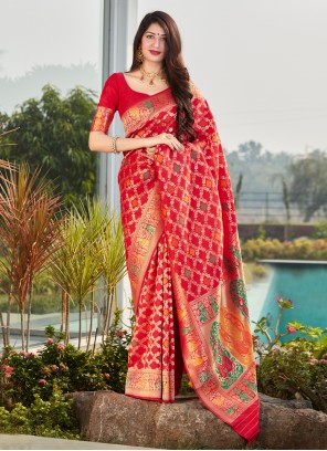 Weaving Silk Designer Red Traditional Saree