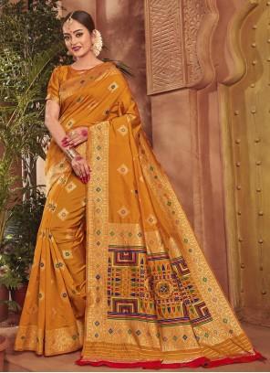 Weaving Silk Designer Mustard Traditional Saree