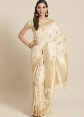 Weaving Silk Designer Traditional Saree in Cream