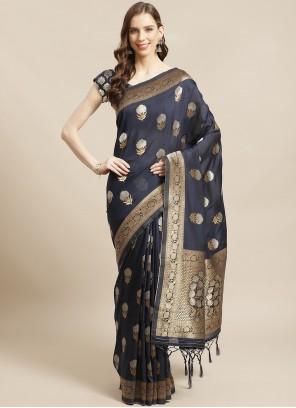Weaving Silk Designer Traditional Saree in Navy Blue