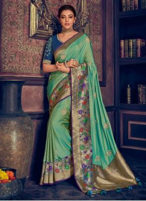 Weaving Silk Turquoise Contemporary Saree