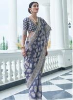 Weaving Silk Grey Classic Designer Saree