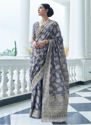 Weaving Silk Grey Classic Designer Saree