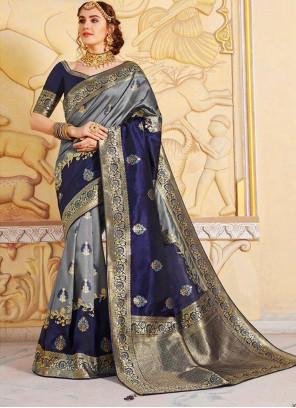 Weaving Silk Navy Blue Silk Saree