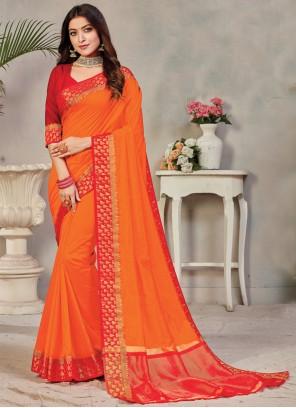 Weaving Silk Orange Bollywood Saree