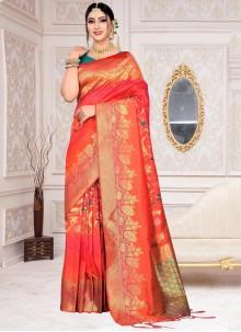 Weaving Silk Orange Designer Saree
