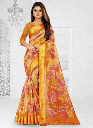 Weaving Silk Orange Saree