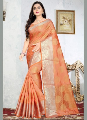 Weaving Silk Orange Traditional Saree