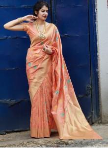 Weaving Silk Peach Classic Saree