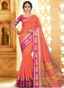 Weaving Silk Peach Silk Saree