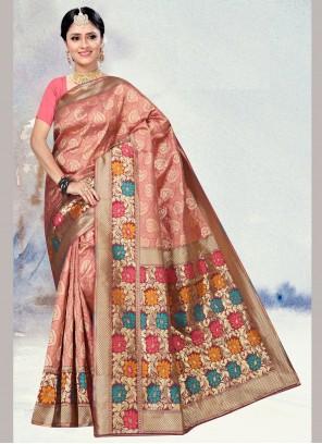 Weaving Silk Pink Silk Saree