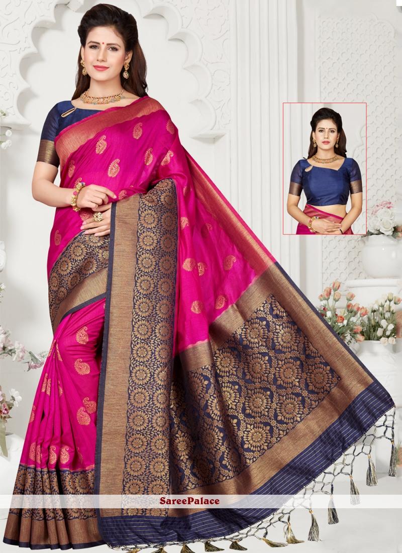 Weaving Silk Pink Traditional Saree