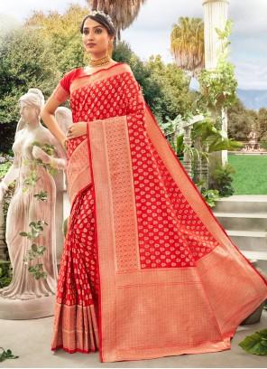 Weaving Silk Red Trendy Saree