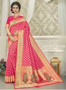 Fuchsia Weaving Silk Saree