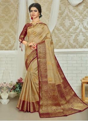 Beige And Maroon Weaving Silk Saree