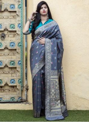 Grey Banarasi Silk Weaving Silk Saree
