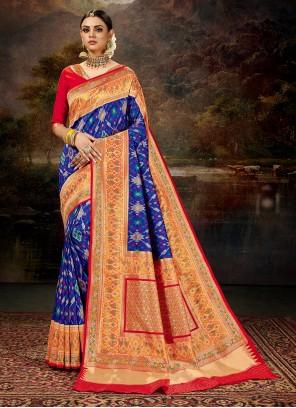 Blue Banarasi Weaving Silk Saree