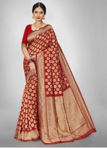 Red Weaving Jacquard Silk Saree