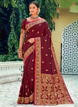 Weaving Silk Ceremonial Saree in Maroon