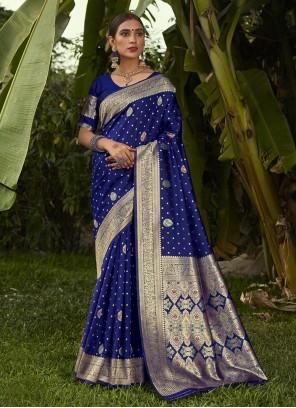 Weaving Silk Traditional Blue Designer Saree