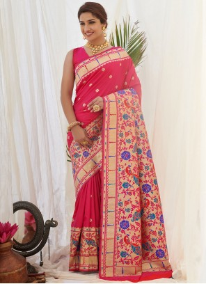 Pink Weaving Silk Traditional Designer Saree