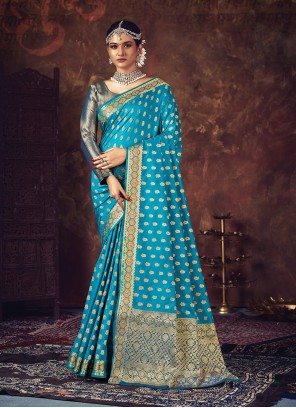 Turquoise Weaving Silk Traditional Designer Saree