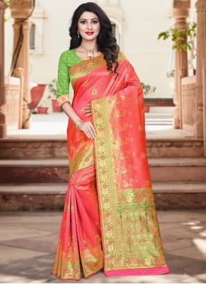 Weaving Silk Traditional Designer Saree in Fuchsia and Green