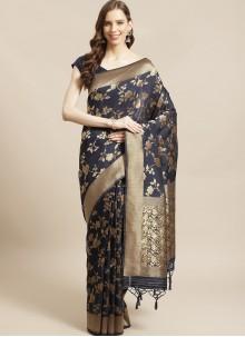 Weaving Silk Navy Blue Traditional Saree