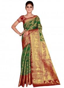 Green Weaving Silk Traditional Saree