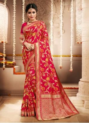 Hot Pink Weaving Silk Traditional Saree